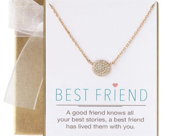 Best friend Jewelry Gift, Pendant Necklace For Best Friend, BFF Necklace, Gold Pendant Necklace, Friendship Necklace, BFF Gift Ideas.N246-2G