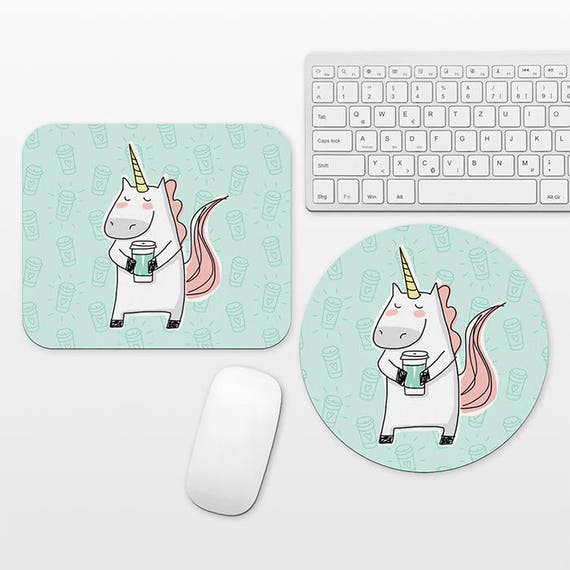 Unicorn Mousepad Unicorn Mouse Pad Coffee Mouse Pad Mouse Mat Unicorn Lover Gift Cute Mouse Pad Mint Green Mouse Pad Fun Mousepad Desk Decor