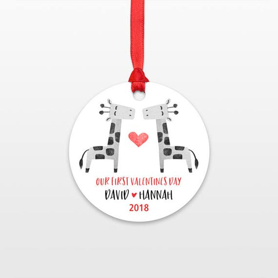 Giraffe Couple 1st First Valentines Day Ornament Personalized Valentines Day Gift for Her for Him Decor Married Engaged Engagement Wedding