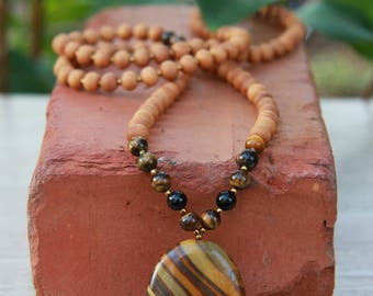 Iron Tiger's Eye Mala - Yoga Beads Meditation Inspired BOHO chic / mala beads