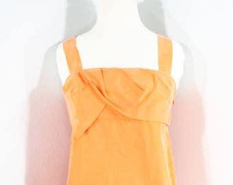 1990s Orange Silk Blouse by Diane von Furstenburg, Small to Medium | 90s DVFnTangerine Sleeveless Top (S, M, 35-32-39)