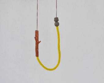 Ceramic twig necklace, ceramic jewelry, long crochet necklace, contemporary necklace, art jewelry, branch necklace, eco friendly jewelry