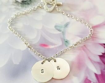 Sweet Double Disc Initial Bracelet