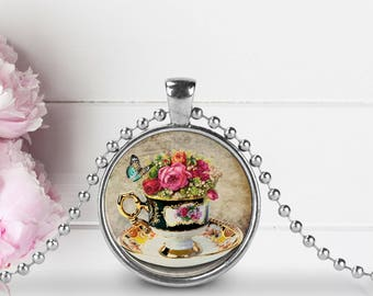 Tea Cup Pendant, Tea Cup Necklace, High Tea Glass Pendant Necklace, High Tea Jewelry, Tea Party Pendant, Tea Party Necklace