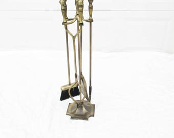 Mid-Century Fireplace Tools - Burnished Bronze With Ball Handles - Four Piece on Stand - Fork, Brush, Log Roller and Shovel on Stand