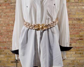 gold and pearl belt / braided belt / 80s rope belt /  jeweled belt / statement belt / braided belt / gold belt / gaudy belt / maximalism