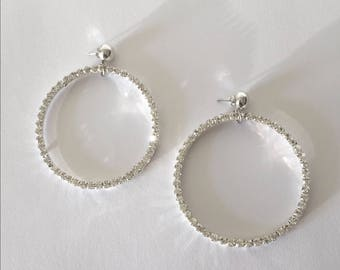 Handmade 80s/90s Inspired Oversized Silver Sparkly Rhinestone Circle Hoop Costume Jewelry Earrings
