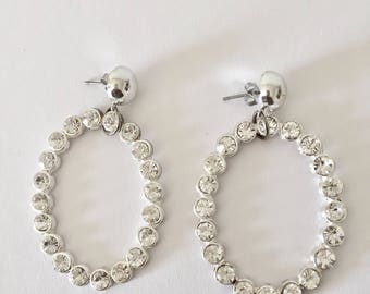Handmade 80s/90s Inspired Oversized Silver Sparkly Rhinestone Oval Hoop Costume Jewelry Earrings