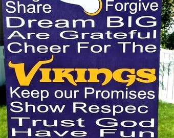 Vikings, Minnesota Vikings, Vikings Decor, In This House, Sports Decor, Football, Wood sign, Home decor