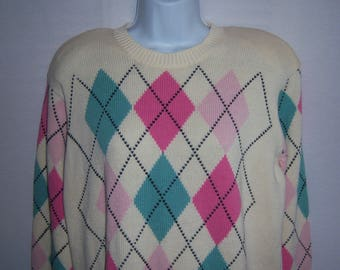 Vintage The Works Saks Fifth Avenue Off White Pink Green Oversized Argyle Sweater Medium M Deadstock NWT NOS Cream Ivory