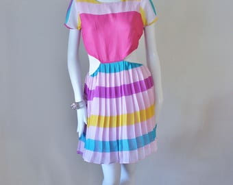 Cutout dress, summer, vintage, 1980s, chiffon, lightweight, breezy, hot weather fave.