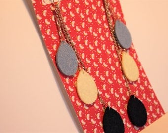 Collection Pop-long earrings (Navy blue/white/sky blue)
