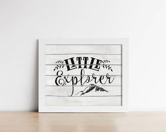 Rustic Nursery Printable Art - Little Explorer - Grey White - Horizontal - Nursery Decor - Art Print - Wall Art - Baby Boy Art - SKU:1022