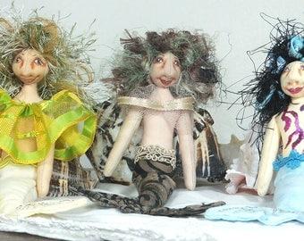 Mini Mermaids-OOAK Art Cloth Doll