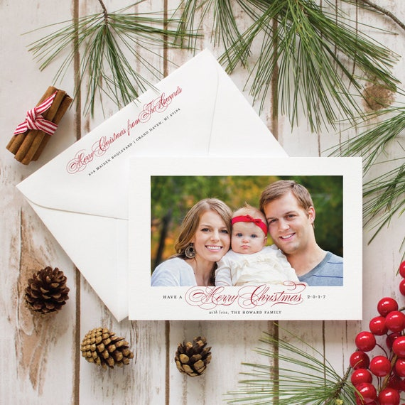 Christmas Card Design, Family Photo Holiday Card, Personalised Christmas Greeting Cards- Classic Christmas