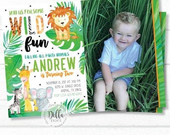 Jungle Invitation, Jungle invite, Safari invitation, Safari Invite, Photo invitation, Watercolors, Wild One, Elephant, Lion, Zebra