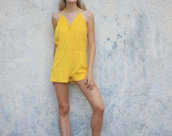 Yellow Terrycloth Roper Halter Playsuit Onesie Vintage Size Small / Medium