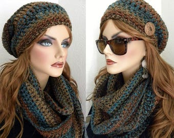 Crocheted Hat Set, Slouchy Beanie, Woman's Infinity Scarf, Infinity Scarf, Southwestern Colors, Women's Fall/Winter Accessories