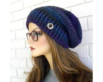 Slouchy Beanie Hat, Chunky Winter Hat, Women's Slouchy Hat, Slouch Hat, Hat with Button, Purple Ribbed Brim, Gift for Teens or women
