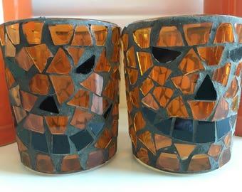 Vintage Jack O Latern Mosaic Votive Candle Holder - Vintage Halloween Decor - Unique Gifts, Stained Glass Decor