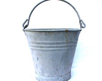 Galvanized Bucket Zinc Metal Bucket Outdoor Planter Herb Garden Decor Rustic Country