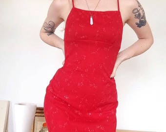 Vintage 90s Square Neck Glitter Floral Red Mini Dress Size Small