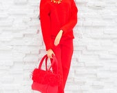 """ELENPRIV red beret for Fashion royalty FR ITBE 16"""", Sybarite, Tonner and similar body size dolls"""