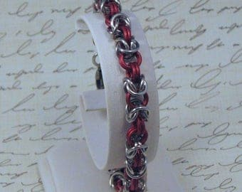 Red and Silver Byzantine Chainmail Bracelet, Chainmail Jewelry, Byzantine Weave Bracelet, Lightweight Bracelet, Red and Silver Bracelet