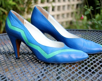 Vintage 1980's Blue & Mint Green Pierre Cardin High Heeled Shoes