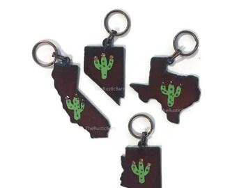 STATES Arizona California Nevada or Texas hand painted Cactus Keychain made of rusted metal
