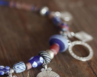 "Handmade silver charms and glass-paste beads ""gipsy"" necklace (N0094)"