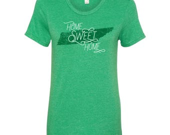 Tennessee Home Sweet Home - State Pride Womens Ringspun T Shirt - Heather Green