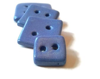 Blue square button set of 6, ceramic sewing button, pottery buttons, unusual scarf buttons, button clasp, ornate buttons, cute focal buttons
