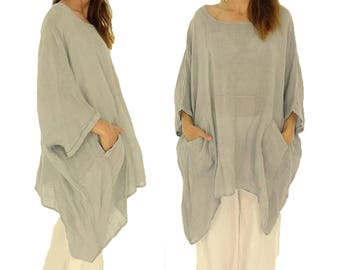 HZ800GR ladies tunic poncho blouse linen gauze layered look one size grey Gr. 42, 44, 46, 48, 50, 52, 54