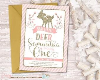 Deer Birthday Invitation, Deer Invitation, Little Deer Invitation, Woodland Birthday Invitation, Woodland Invitation, Pink and Gold, Glitter