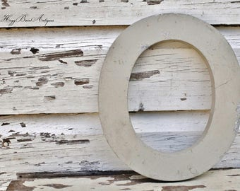 Vintage Metal Letter Marquee Sign Chippy White Gray Farmhouse Decor Industrial Salvage Fixer Upper Decor O