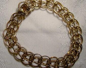 Forstner Gold Filled Double Link Charm Bracelet 1960s