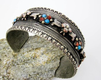 Tribal Nepal Silver Bracelet, Antique Ethnic Cuff Dowry Wedding Jewelry, Copper Ornamentation, Turquoise & Coral Cuff, Missing Gems Restored