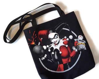 Harley Quinn Bag • Upcycled Tshirt Bag • Harley Quinn Shoulder Bag • Tote Bag • Harley Quinn Gift