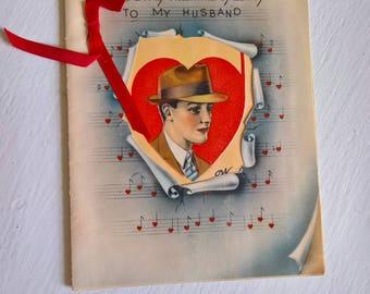 Vintage Valentine Husband Greeting Card     1940u0027s Sentimental Mail Paper  Ephemera    Retro