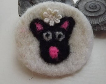 Sheep Badge/Pin with pink nose and daisy embellishment- needle felted made from natural wool