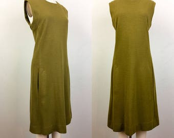 Vintage 60s MOD Olive Green Knit Shift Dress M/L