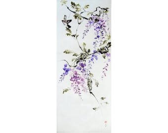 Large Sumi-e painting Ink Painting Japanese Watercolor Asian art  Suibokuga  Rice paper flowers and birds Wisteria and sparrow #3
