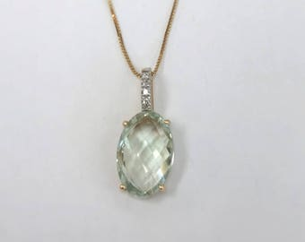 Pretty Green Amethyst Pendant with Diamond Bail - 14 karat yellow gold