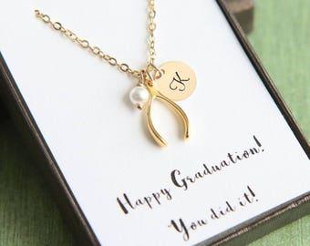 Personalized Wishbone Necklace, Tiny Wishbone Necklace, Good Luck Gift, Wishbone Jewelry, Good Luck Jewelry, Initial Birthstone Necklace