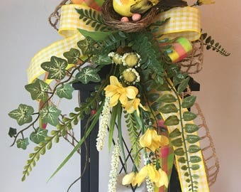 SPRING FEVER (Yellow) - Decorative Spring / Summer Floral Lantern Swag Tabletop Arrangement