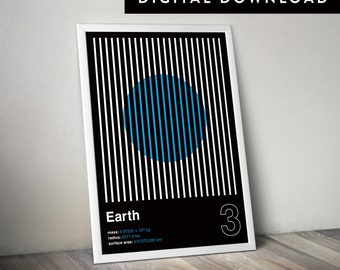 EARTH (Printable Poster, Graphic Poster, Space Poster, Geometric Poster)
