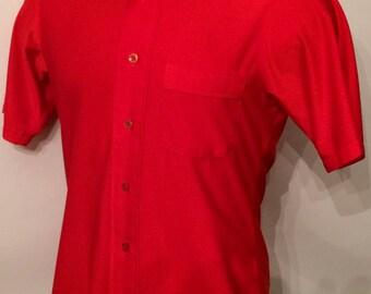 Vintage MENS Enro for Karoll's red knit shirt, circa 60s-70s