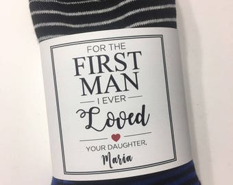 For the First Man I Ever Loved Sock Wrapper, Father of the Bride Gift, Wedding Day Gift, Wedding Socks Wrapper, Wedding Socks Label
