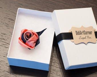 Rose Lapel Pin / Rose Boutonniere / lapel pin flower / Men's Lapel Pin / Peach and Dark Blue Rose Lapel Pin / lapel pins men